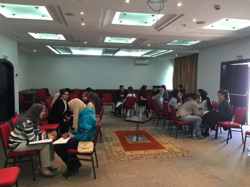 صورة من ورشة التشبيك المهني التي قدمتها عرين شحبري في مؤتمر الشراكة الأمريكية الشرق أوسطية (مي.بي) في الرباط-المغرب