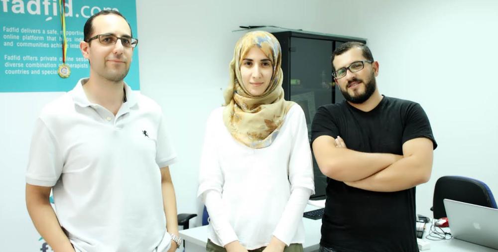 الشريكة المؤسسة لفضفض والمديرة التنفيذية للعمليات ميس عبد الغني عطاري، وشركاؤها المدير التنفيذي هاني ابو غزالة، والشريك المؤسس والمدير التكنولوجي محمد ابو قرع